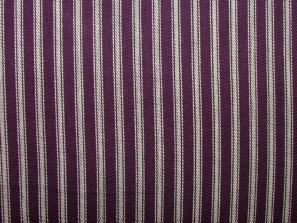 St Ives Mulberry 100 Cotton Woven Ticking Curtain